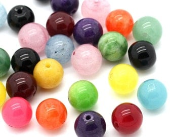 50 pcs. - Assortment of Agate Dyed Round Stone Beads (Grade B) - 8mm