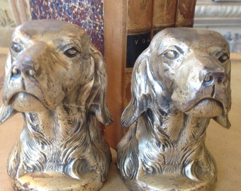 Vintage Cast Metal Spaniel Dog Bookends