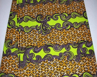 By the Yard, Lime Green and Orange Color Supreme Wax Holland African fabric/Ankara wax print/ Holland wax prints/ Supreme Holland fabrics