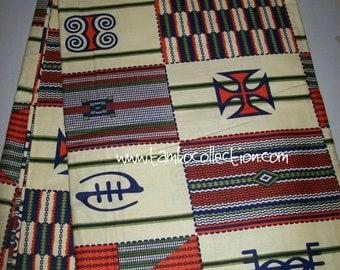 Orange and Cream Adinkra mix kente fabric per yard/ Kente prints/ African cotton fabric/ Kente cloth/ Clothing/ Decor/ Accessories