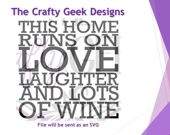 This Home Runs On Love Laughter And Wine SVG File