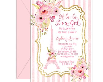 Paris  Baby Shower Invitation- French Theme Oh La La It's a Girl- with Eiffel Tower and Pink Flowers- Baby Girl Shower- Printed or Digital