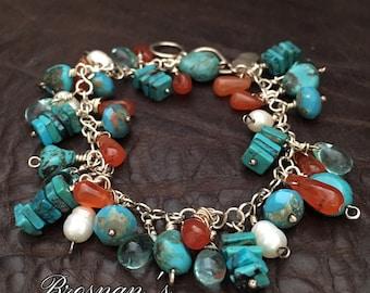Sterling Silver, Turquoise Multi Gemstone Bracelet