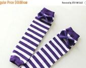 ON SALE Leg Warmers - Purple and White Stripe Halloween Felt