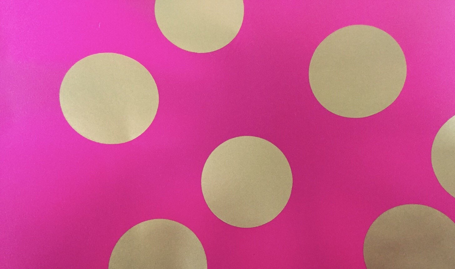 pink and gold polka dot vinyl wall sticker decals baby pink zoom