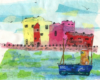 A6 greeting card art print Safely Home