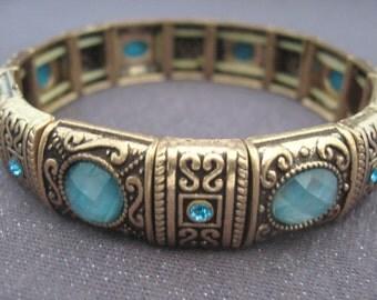 bracelet, blue rhinestone, stretch bracelet, vintage, larger wrist bracelet, blue and gold, vintage jewelry