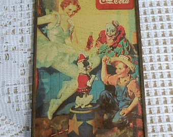 """Rare COCA COLA 1940's CIRCUS Ad Metal Frame Glass Cover Clown Dancing Lady & Dog, Farm Boy in Straw Hat, Coke Bottles, Hang Loop 4"""" x 6"""""""