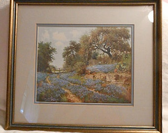 BLUE BONNET TRAIL Framed Litho Print, Blooming Texas Hill Country Landscape Trees Fence, Porfirio Salinas Jr Artist Sign Gilded Wood Frame