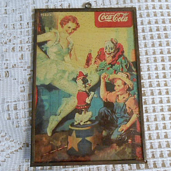 "Rare COCA COLA 1940's CIRCUS Ad Metal Frame Glass Cover Clown Dancing Lady & Dog, Farm Boy in Straw Hat, Coke Bottles, Hang Loop 4"" x 6"""
