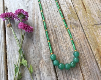 SALE Green long beaded necklace | glass beads | hand strung | free gift wrapping