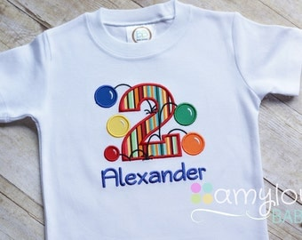 Bouncy Balls  - Any Age - Colorful Personalized Birthday Tee Shirt - Boy or Girl - Bounce Party - Bouncing