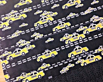 Quilted Placemats, Fabric Placemat, Yellow and Black Placemats, Taxi Decor, Taxis, Yellow Cab, NYC Taxi