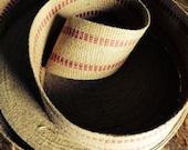 "100% Natural Jute Webbing - Burlap Ribbon with Red Accents - 3-3/4"" wide"