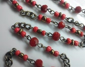 36 Inches Vintage Red Faceted Round Glass Bead Brass Chain with 4 mm Gold and Red Bead Accent, Jewelry Making Supply. Just  Add Clasps.
