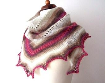 knit triangle shaw, pink brown ecru