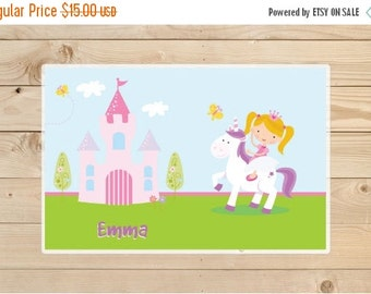 ON SALE Kids-Personalized-Placemat---Personalized-Unicorn-Placemat-for-Girls---Unicorn-and-Castle-Laminated-Placemat-for-Girls