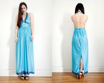 FREE SHIPPING Vintage Floral Hippie Halter Dress Backless Open Back Boho Maxi Dress 70's