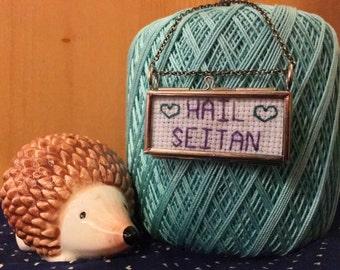 Hail Seitan Stitched Glass Locket Necklace- Vegan