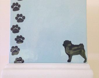 Pug Dry Erase Tile / Ceramic Memo Board - Optional Wooden Stand and Marker