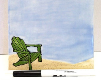Dry Erase Board - Ceramic Tile - Adirondack on the Beach - with Optional Wooden Stand and Marker