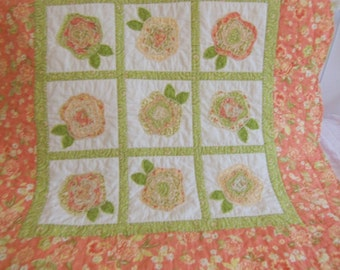 Baby Quilt, Baby Blanket, French Roses