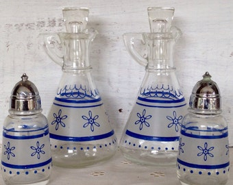 Vintage Anchor Hocking Christmas 4 Piece Set 1960's Blue Snowflake Set of 2 Oil and Vinegar Cruets and Salt and Pepper Shakers