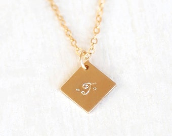 Personalized Custom Stamped Initial Diamond Tag Necklace // 14K Gold Filled, Sterling Silver, Rose Gold Filled
