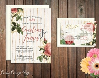 Wedding Invitation - Roses and Gold Stripes - Vintage Botanical Flowers - Customizable Colors - Invitation and RSVP Card with Envelopes