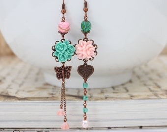 Asymmetrical earrings Turquoise and Pink earrings Butterfly earrings Vintage Copper Mismatched earrings Summer Floral Earrings- Garden Charm