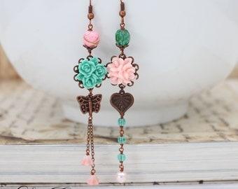 Asymmetrical earrings Turquoise and Pink earrings Butterfly earrings Vintage Copper Mismatched earrings Summer Floral Earrings- Garden Charm