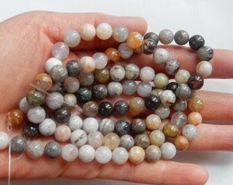 """8mm Flower agate round beads, Full strand  (15.5"""")"""