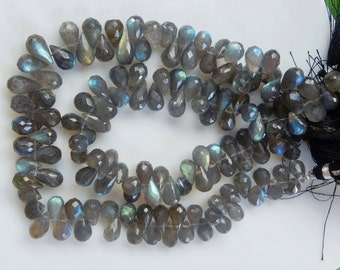 37 beads 1/2 Strand (5 inches) Flashy blue labradorite faceted  teardrop briolette (8.5-11x6-6.5mm)