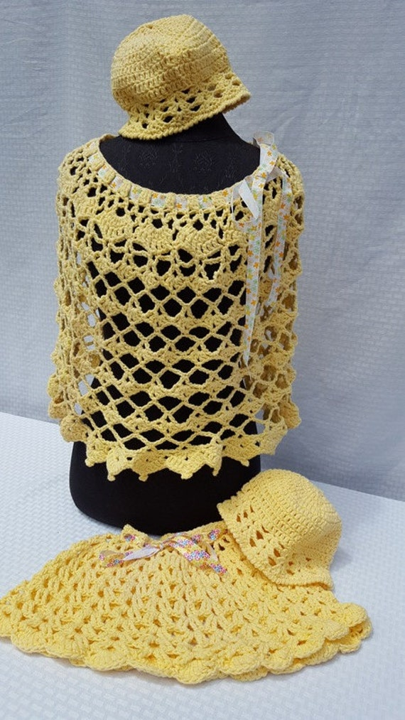 Mother and Daughter yellow hand crocheted boho chic poncho set with matching hats-READY TO SHIP
