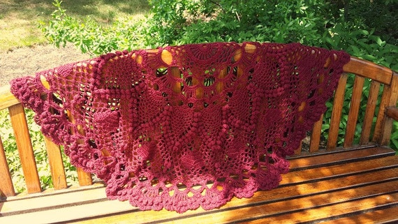 Hand crochet round afghan with hearts and pineapple popcorn stitching in burgundy -READY TO SHIP