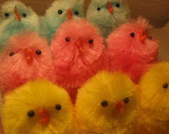 Vintage Inspired Large Easter Chicks or Peeps Craft Supply or Embellishment
