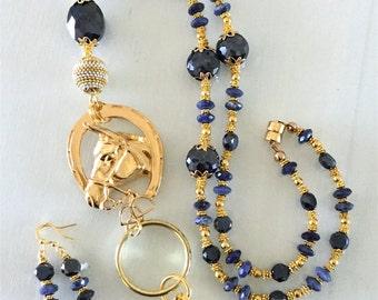 Gold, Navy Blue Glass Crystals, Dark Blue Agate Crystal Cut Stones Horse Lanyard