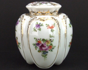 Antique Ginger Jar 2 Lids Bone China Unmarked Urn Hand Painted Victorian