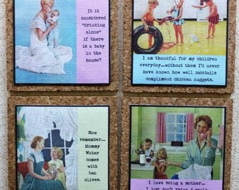 Funny Cork Coasters Set For Mothers Twenty Dollar Mothers Day Gift