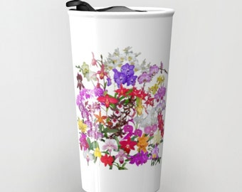 A celebration of orchids ceramic TRAVEL mug, floral coffee or tea mug with lid, 12 ounce, flower, tropical garden, red yellow violet
