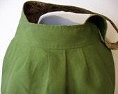 Olive Green Canvas Pleated  Large Shoulder Bag - Amy Butler Birdie Sling Purse Floral Lining