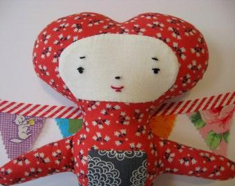 """Wee Wonderfuls """"I Heart You"""" Folklore Cloth Doll"""