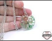 Handmade Flower Pendant, Real Flower Necklace, Aventurine Necklace, Gemstone Jewelry