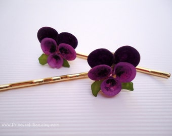 Vintage earrings hair pins -  Hawaiian magenta orchid flowers purple violet shell nature garden unique embellish decorative hair accessories
