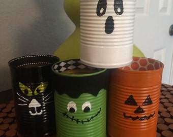 Set of (8) HALLOWEEN TIN CANS