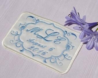 Wedding Dress Label   Satin Custom Embroidered, bridal shower gift.