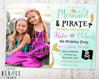 MERMAID and PIRATE INVITATION - Mermaid and pirate party invitation - Gold Mermaid and pirate birthday party invitation Boy and Girl Dual