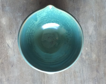 2 Cup Batter Bowl,  Stoneware Ceramics & Pottery Keramik Baking Kitchen Serving Bowl with Pour Spout in Turquoise *Made to Order*