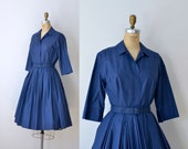 1950s Navy Blue Shirtwaist Dress / 50s Pleated Day Dress