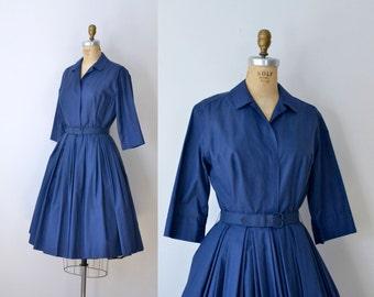 1950s Navy Blue Shirtwaist Dress / 50s Pleated Day Dress